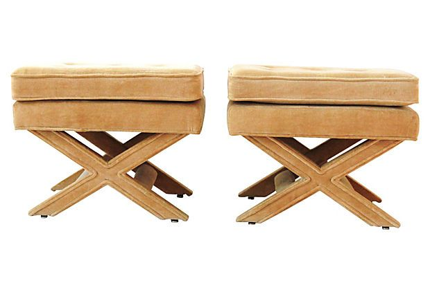 Upholstered X Benches Pair
