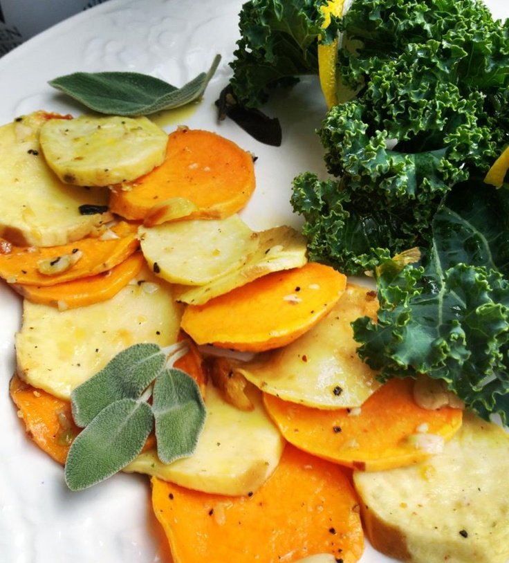 Roast Sweet Potato and Yam Medallions with crispy sage. 25 minutes ...