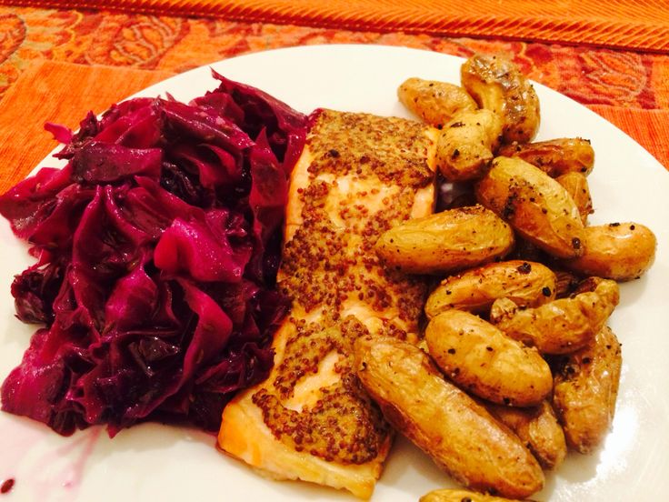 ... crusted salmon, roasted fingerling potatoes and braised red cabbage