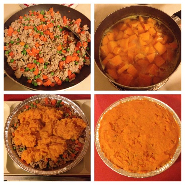 Sweet Potato Shepard's Pie 1lb lean ground turkey 1cup frozen peas and ...