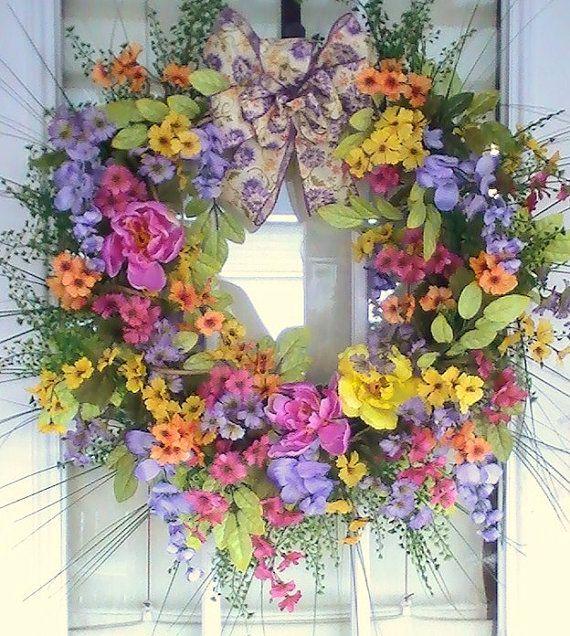 Spring floral wreath door decoration for 3 wreath door decoration