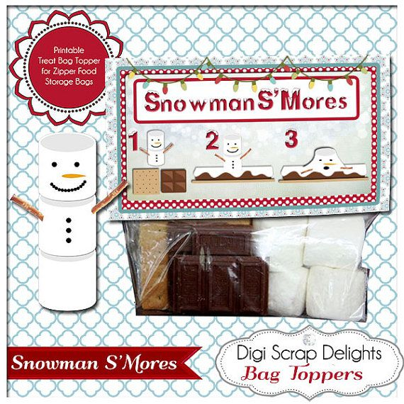 """Snowman S""""Mores Printable Bag Topper - Gifts for Neighbors ..."""