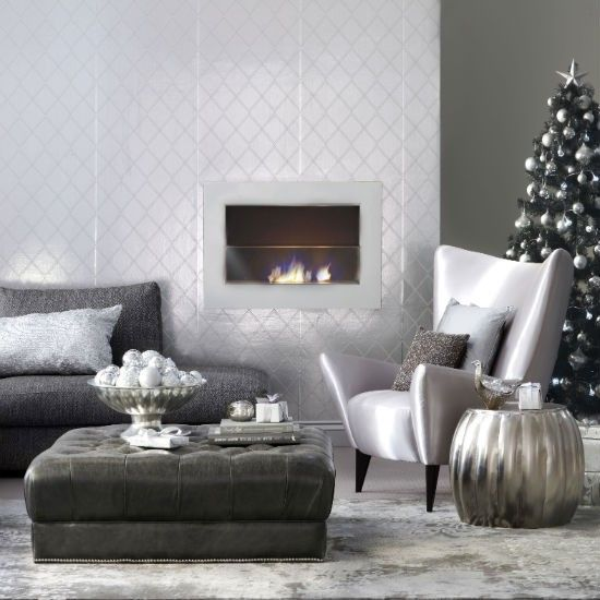 Modern Metallic Christmas --  For a show-stopping living room, you can't beat a shimmering silver colour scheme like this.