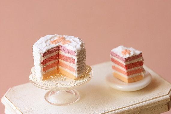Dollhouse Miniature Food - Pink Rainbow Cake