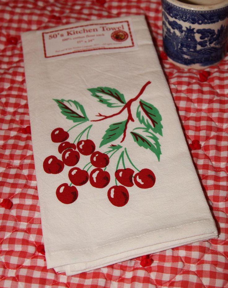 Vintage Style Cotton Flour Sack 50 39 S Kitchen Towels With Bright Cherr