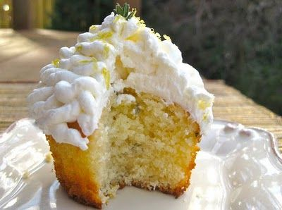 sunshine-y cupcakes made with olive oil, lemon zest and fragrant thyme ...