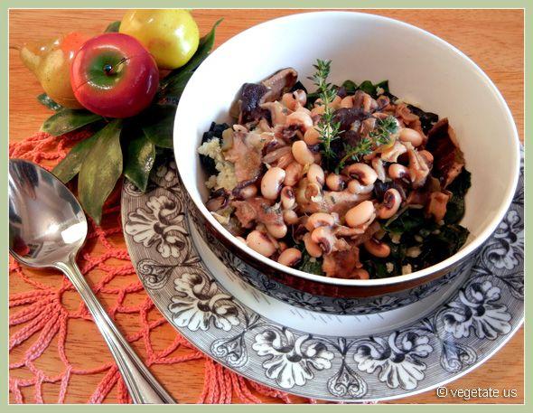 Quinoa & Chard with Sherry-Glazed Mushrooms #Vegan #Vegetarian