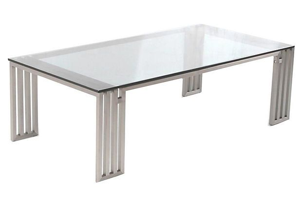 Founder Glass Coffee Table Silver On