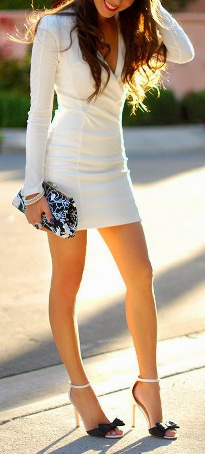 Chic white. Outfit! The Fashion: Gorgeous dress black fur Summer outfits Teen fashion Cute Dress! Clothes Casual Outift for • teenes • movies • girls • women •. summer • fall • spring • winter • outfit ideas • dates • school • parties mint cute sexy ethnic skirt