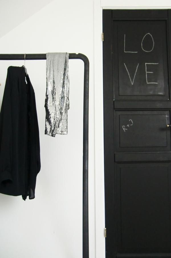 Ikea Turbo Clothes Rack + chalkboard painted door