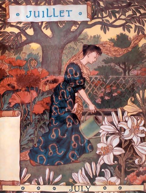 """large size paintings: Eugène GRASSET Calendrier """"La Belle Jardinière"""" 1896"""