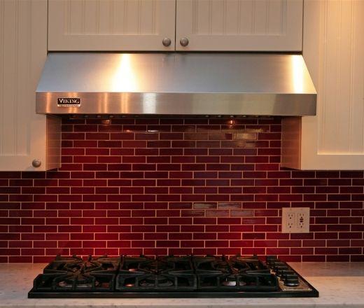 Red glass backsplash looks like brick kitchen re design pintere - Backsplash that looks like brick ...
