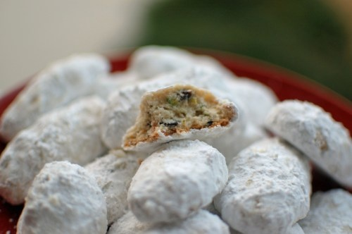 Pistachio and cherry Mexican Wedding Cookies