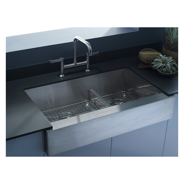 Kohler Vault Sink : KOHLER: Vault? Smart Divide? Offset Apron-Front Kitchen Sink ...