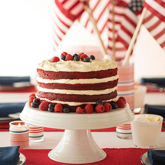 Striped Red Velvet Cake Red velvet cake and fluffy cream cheese ...