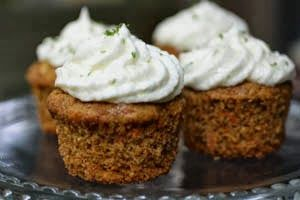 Carrot Cake Cupcakes with Mascarpone Lime Frosting