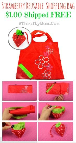 Strawberry  Reusable Shopping Bag, only a dollar each shipped free #shoppingBag, #FreeSHipping, #amazon,