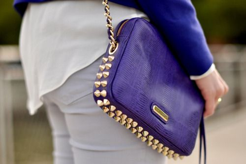 Purple Leather and Gold Studded Bag.