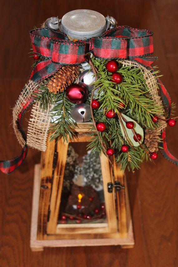 Rustic wooden christmas lantern holiday lighting centerpiece