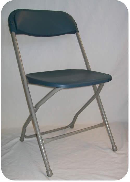 Blue samsonite style plastic amp metal basic folding chairs