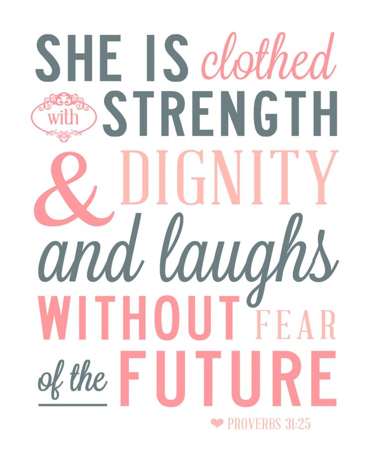 Poster She Is Clothed With Strength: Proverbs 31:25 Scripture, Quote, Verse