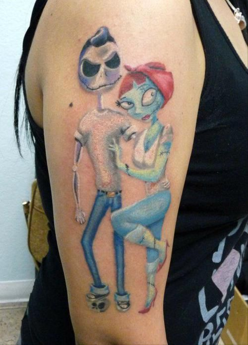 Rockabilly Jack & Sally aka the best tattoo I've seen in forever.