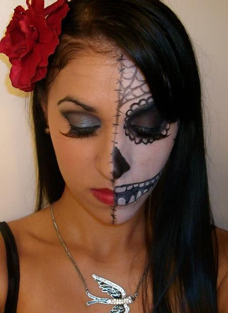 half face sugar skull fall fun pinterest