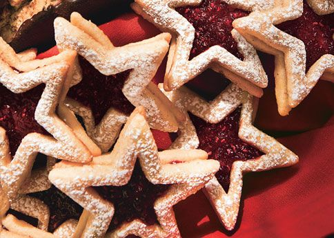 Cranberry and Raspberry Star Cookies: Recipe: bonappetit.com. Jelly ...