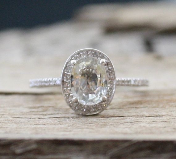 Oval White Sapphire Diamond Halo Engagement Ring in 14K Gold