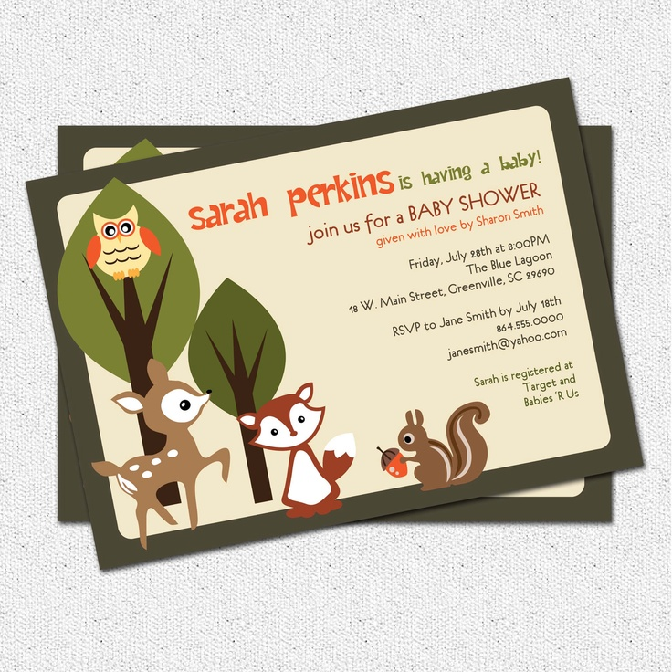 Printable Baby Shower Invitation, Woodland Animals Creatures Forest