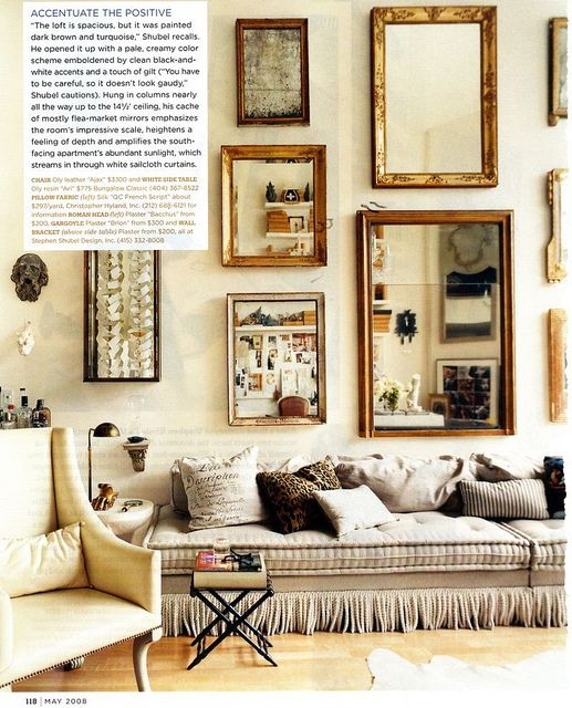 Interior design by Stephen Shubel as shown in Domino Magazine, May 2008
