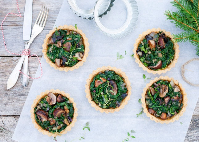 Spiced Spinach and Mushrooms in Almond Tartlets | Recipe