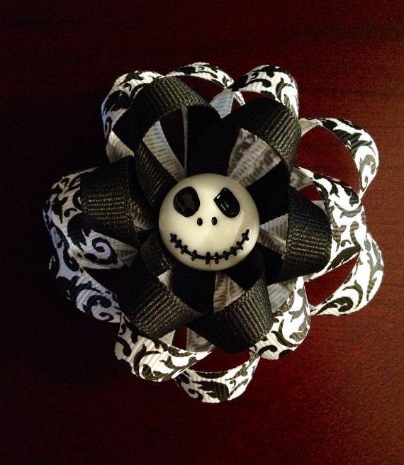 Nightmare Before Christmas Jack Skellington Ribbon Flower Hair Clip ...