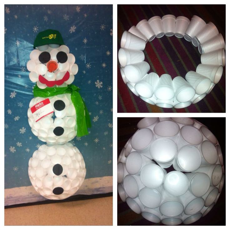 Cup snowman door designs pinterest for Snowman made out of cups