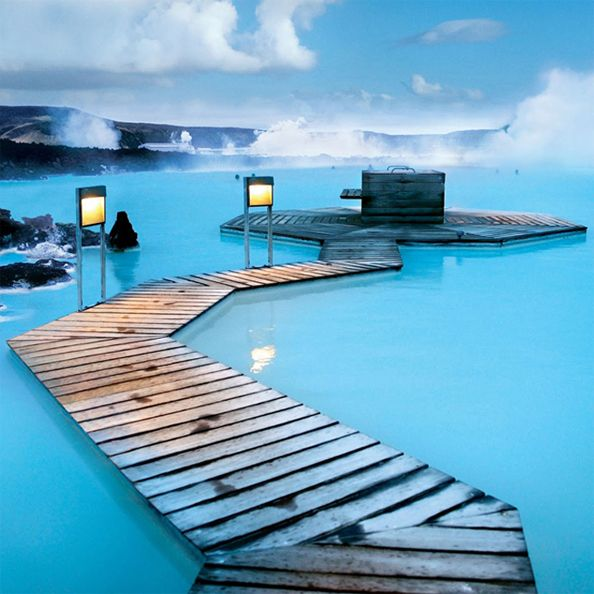 The Blue Lagoon, Iceland - The Blue Lagoon in Reykjavik, Iceland is a naturally heated pool of mineral-rich seawater that's usually anywhere between 98-102 degrees.