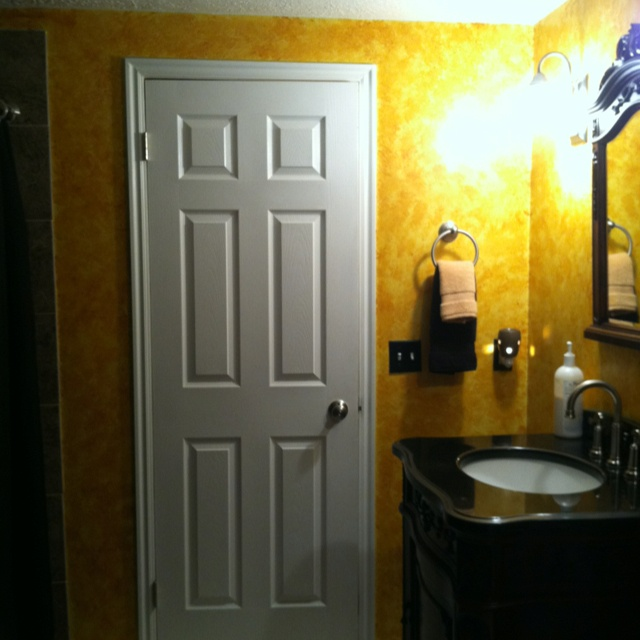 Gold Faux Rag Paint Master Bath Addition And Remodel