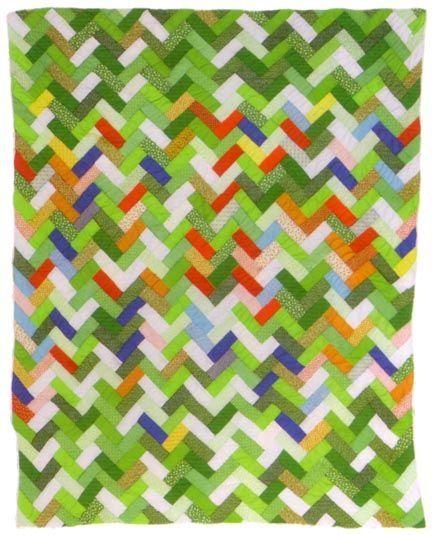 cheerful green zigzag quilt