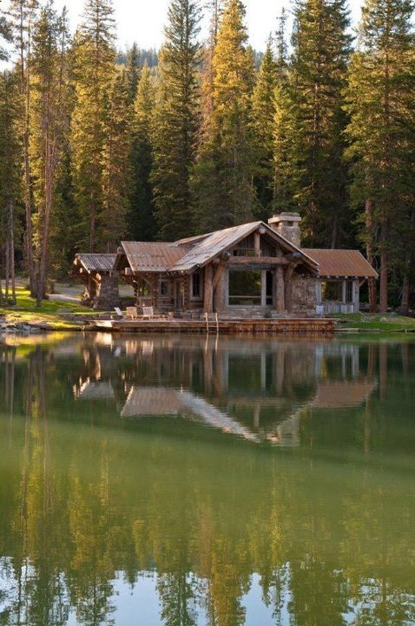 log cabin on a lake home pinterest