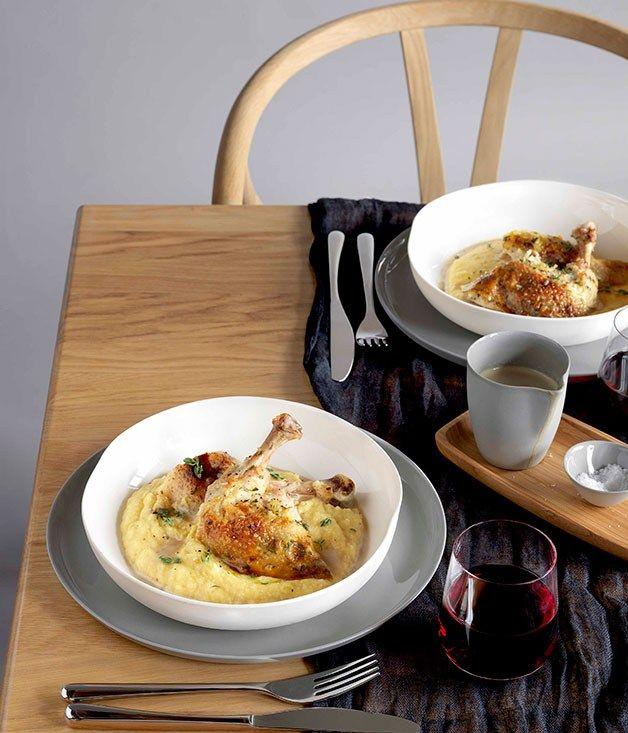 Roast chicken with polenta and wild mushroom sauce - Gourmet Traveller