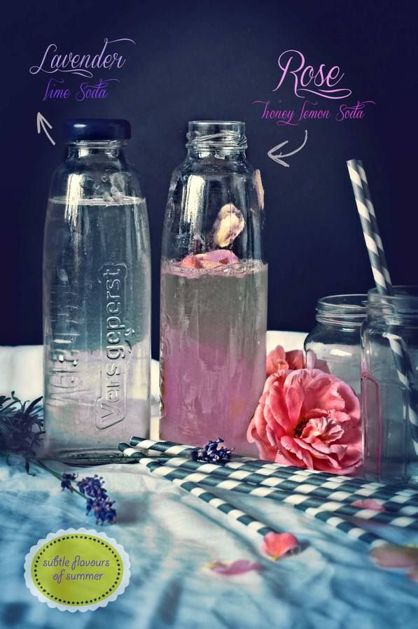 Rosewater, Honey, and Lemon Soda and Lavender Lime Soda