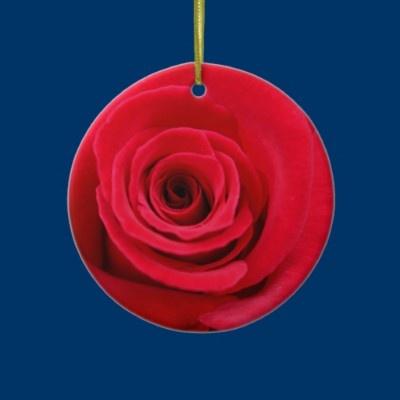 Bright Red Rose Christmas Tree Ornaments by fstasu50