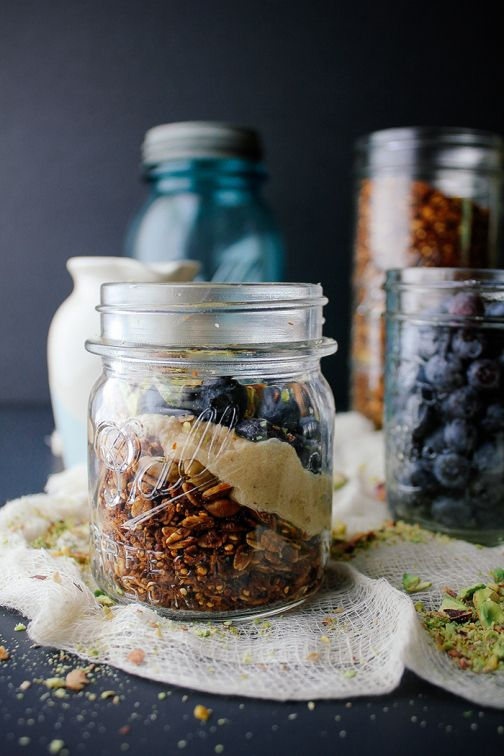 Blueberry Pistachio Parfait with Quinoa Granola and Maple Cashew Cream