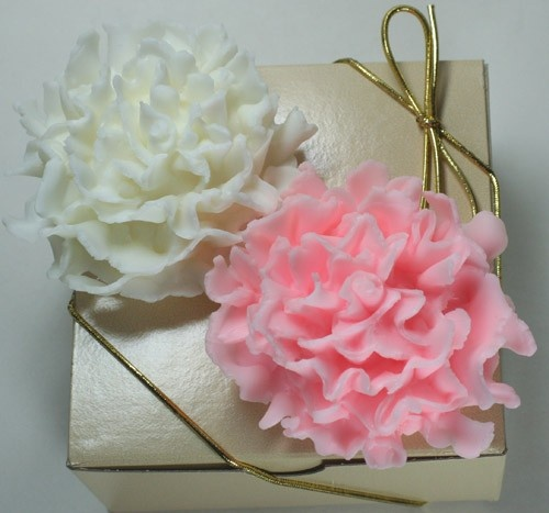 Carnation Glycerin Soaps Pink and White in a gift box from Gingers-Garden. These are too pretty to use.