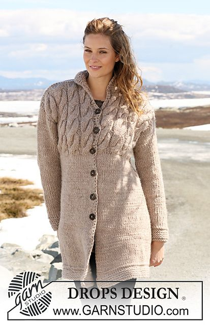 "Jacket with cables in ""Eskimo"" by DROPS design"