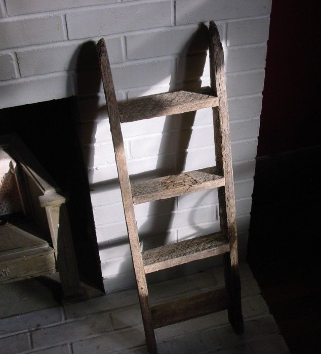 Rustic Country Primitive Farm Barn Wood Ladder Antique Style Home Dec ...