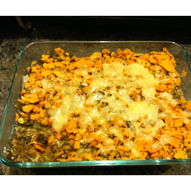 bean and mushroom casserole topped with cracker crumbs and cheese ...