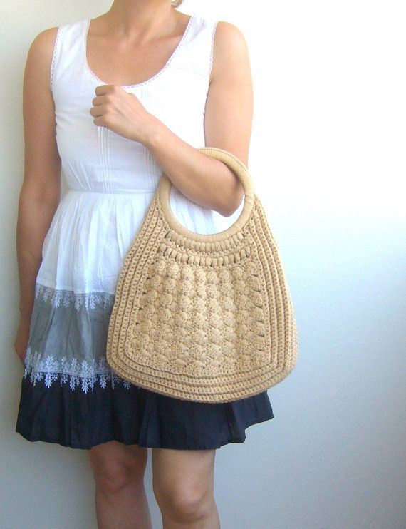 Crochet bag woolen in oatmeal color / Handbag crochet by woolwarm, $30 ...