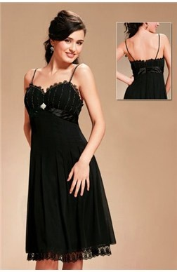 A-line Beading Elastic Woven Satin Sleeveless Little Black #Dress Style Code:01677 $109