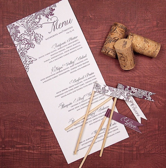 printable wedding menu design, vineyard theme