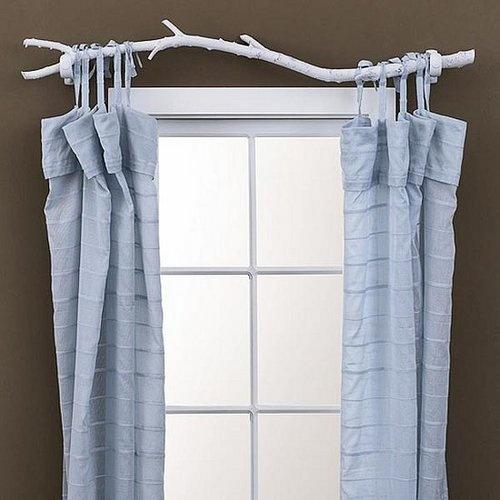 diy tree branch curtain rod. Black Bedroom Furniture Sets. Home Design Ideas